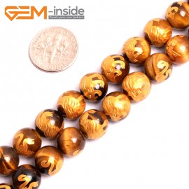 "G15645 10mm Round Natural Yellow Tiger Eye Carved Golden BaiHu Tiger Buddha Mala Lucky Stone Strand 15"" Natural Stone Beads for Jewelry Making Wholesale"