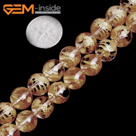 """G15652 10mm Round White Clear Rock Crystal Quartz Carved Golden QingLong Dragon Buddha Mala Lucky Stone Strand 15"""" Natural Stone Beads for Jewelry Making Wholesale"""