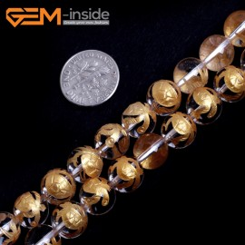 "G15655 10mm Round White Clear Rock Crystal Quartz Carved Golden  XuanWu Tortoise Buddha Mala Lucky Stone Strand 15"" Natural Stone Beads for Jewelry Making Wholesale"
