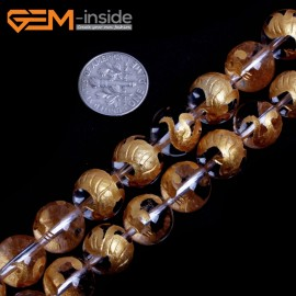 """G15657 12mm Round White Clear Rock Crystal Quartz Carved Golden BaiHu Tiger Buddha Mala Lucky Stone Strand 15"""" Natural Stone Beads for Jewelry Making Wholesale"""