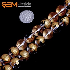 "G15659 12mm Round White Clear Rock Crystal Quartz Carved Golden XuanWu Tortoise Buddha Mala Lucky Stone Strand 15"" Natural Stone Beads for Jewelry Making Wholesale"