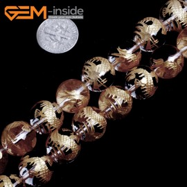 "G15660 14mm Round White Clear Rock Crystal Quartz Carved Golden QingLong Dragon Buddha Mala Lucky Stone Strand 15"" Natural Stone Beads for Jewelry Making Wholesale"
