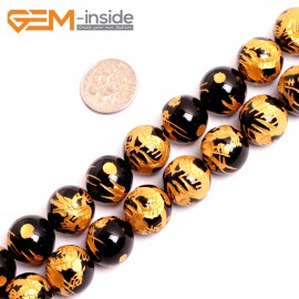 """G15668 12mm Round Natural Onyx  Black  Agate Carved Golden QingLong Dragon Buddha Mala Lucky Stone Strand 15"""" Natural Stone Beads for Jewelry Making Wholesale"""