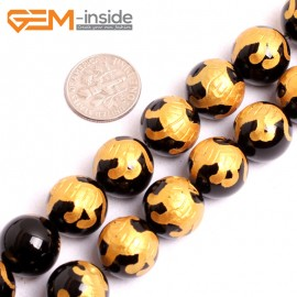 """G15669 12mm Round Natural Onyx  Black  Agate Carved Golden BaiHu Tiger Dragon Buddha Mala Lucky Stone Strand 15"""" Natural Stone Beads for Jewelry Making Wholesale"""