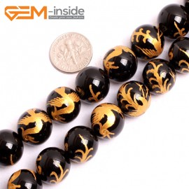 """G15670 12mm Round Natural Onyx  Black  Agate Carved Golden ZhuQue Phonix Dragon Buddha Mala Lucky Stone Strand 15"""" Natural Stone Beads for Jewelry Making Wholesale"""