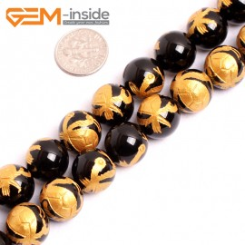 """G15671 12mm Round Natural Onyx  Black  Agate Carved Golden XuanWu Tortoise Dragon Buddha Mala Lucky Stone Strand 15"""" Natural Stone Beads for Jewelry Making Wholesale"""