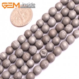 "G15685 6mm Round Silver Gray Druzy Drusy Metallic Coated Geode Quartz Agate Strand 15"" Stone Beads for Jewelry Making Wholesale"