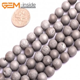 "G15687 8mm Round Silver Gray Druzy Drusy Metallic Coated Geode Quartz Agate Strand 15"" Stone Beads for Jewelry Making Wholesale"