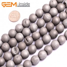 "G15699 12mm Round Silver Gray Druzy Drusy Metallic Coated Geode Quartz Agate Strand 15"" Stone Beads for Jewelry Making Wholesale"