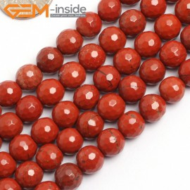 "G15742 8mm Round Faceted Natural Faceted Red Jasper  Strand 15"" Natural Stone Beads for Jewelry Making Wholesale"