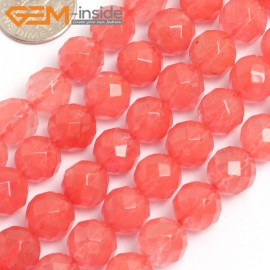 """G15758 10mm Round Faceted Waterlemon Tourmaline Cherry Crystal Glass Strand 15"""" Beads for Jewelry Making Wholesale"""