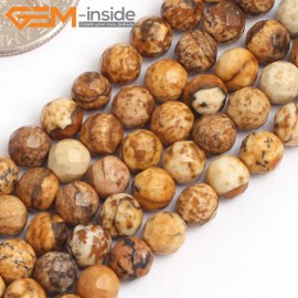 """G15761 4mm Round Faceted Natural Picture Jasper Strand 15"""" Natural Stone Beads for Jewelry Making Wholesale"""