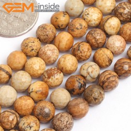 """G15762 6mm Round Faceted Natural Picture Jasper Strand 15"""" Natural Stone Beads for Jewelry Making Wholesale"""