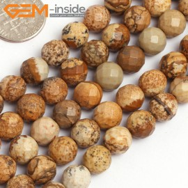 """G15763 8mm Round Faceted Natural Picture Jasper Strand 15"""" Natural Stone Beads for Jewelry Making Wholesale"""