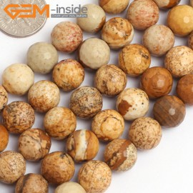 """G15764 10mm Round Faceted Natural Picture Jasper Strand 15"""" Natural Stone Beads for Jewelry Making Wholesale"""