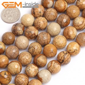 "G15765 12mm Round Faceted Natural Picture Jasper Strand 15"" Natural Stone Beads for Jewelry Making Wholesale"