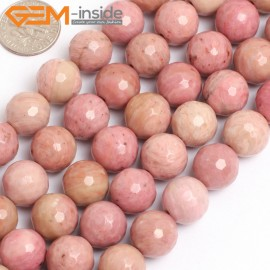 """G15767 12mm Round Faceted Natural Rhodochrosite Strand 15"""" Natural Stone Beads for Jewelry Making Wholesale"""