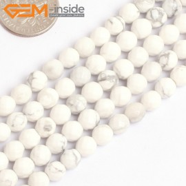 "G15768 6mm Round Faceted Natural Howlite Strand 15"" Natural Stone Beads for Jewelry Making Wholesale"