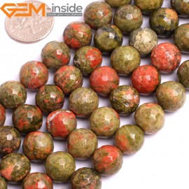 """G15792 8mm Round Faceted Natural Unakite Strand 15"""" Natural Stone Beads for Jewelry Making Wholesale"""