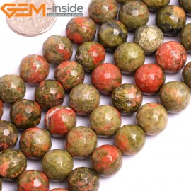 "G15793 10mm Round Faceted Natural Unakite Strand 15"" Natural Stone Beads for Jewelry Making Wholesale"