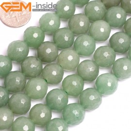 "G15796 12mm Round Faceted Natural Green Aventurine Strand 15"" Natural Stone Beads for Jewelry Making Wholesale"