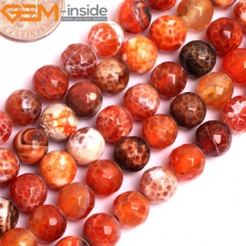 "G15799 8mm Round Faceted DZI Red Fire Agate Strand 15"" Stone Beads for Jewelry Making Wholesale"