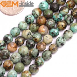 """G15800 4mm Round Faceted Natural Blue Africa Turquoise Strand 15"""" Stone Beads for Jewelry Making Wholesale"""