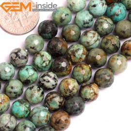 "G15802 8mm Round Faceted Natural Blue Africa Turquoise Strand 15"" Stone Beads for Jewelry Making Wholesale"