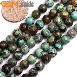 """G15805 6mm Round Smooth Natural Blue Africa Turquoise Strand 15"""" Stone Beads for Jewelry Making Wholesale"""