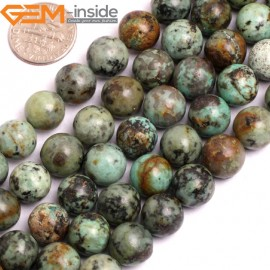"G15807 10mm Round Smooth Natural Blue Africa Turquoise Strand 15"" Stone Beads for Jewelry Making Wholesale"