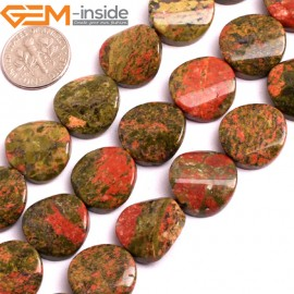 """G15817 16mm Coin Twisted Unakite Stone Strand 15"""" Natural Stone Beads for Jewelry Making Wholesale"""