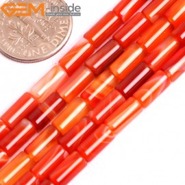 "G15826 4x8mmm Column Tube Natural Stripe Sardonyx Red Agate Beads Strand 15"" Natural Stone Beads for Jewelry Making Wholesale"