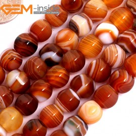 """G15844 8mm Lantern Faceted Natural Persian Striped Botswana Agate Strand 15"""" Natural Stone Beads for Jewelry Making Wholesale"""
