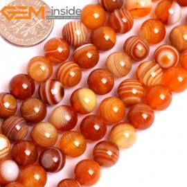 "G15852 8mm Round Natural Persian Striped Botswana Agate Strand 15"" Natural Stone Beads for Jewelry Making Wholesale"