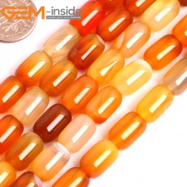 "G15855 8x12mm Column Natural Red Carnelian Agate Strand 15"" Natural Stone Beads for Jewelry Making Wholesale"