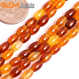 """G15860 4x6mm Rice Olivary Natural Red Carnelian Agate Strand 15"""" Natural Stone Beads for Jewelry Making Wholesale"""