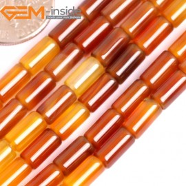 """G15865 4x8mm Column Tube Natural Red Carnelian Agate Strand 15"""" Natural Stone Beads for Jewelry Making Wholesale"""