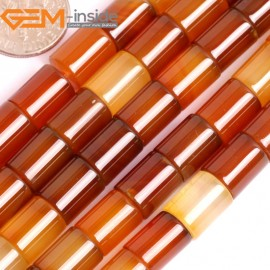 "G15866 8x10mm Column Tube Natural Red Carnelian Agate Strand 15"" Natural Stone Beads for Jewelry Making Wholesale"