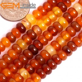 "G15872 4x6mm Rondelle Natural Red Carnelian Agate Spacer Beads Strand 15"" Natural Stone Beads for Jewelry Making Wholesale"