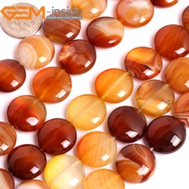 "G15879 16mm Coin Natural Persian Striped Botswana Agate Strand 15"" Natural Stone Beads for Jewelry Making Wholesale"