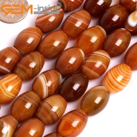 "G15886 12x16mm Olivary Rice Natural Persian Striped Botswana Agate Strand 15"" Natural Stone Beads for Jewelry Making Wholesale"