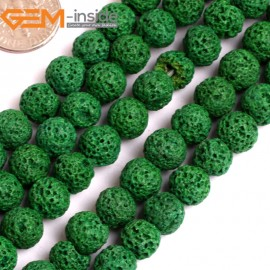 """G15898 8mm Round Green Lava Rock Beads Dyed Color 15"""" Beads for Jewelry Making Wholesale"""