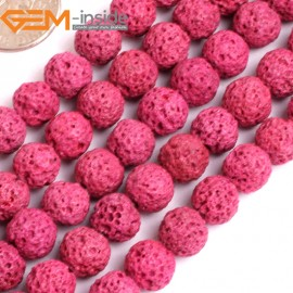"""G15903 8mm Round Magenta Lava Rock Beads Dyed Color 15"""" Beads for Jewelry Making Wholesale"""