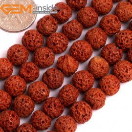 """G15905 8mm Round Cofee Dark Brown Lava Rock Beads Dyed Color 15"""" Beads for Jewelry Making Wholesale"""