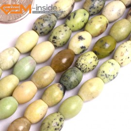 "G15909 6x8mm Rice Olivary Green Natural  African Turquoise Stone 15""  Natural Stone Beads for Jewelry Making Wholesale"