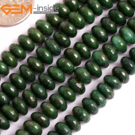 """G15917 4x6mm Rondelle Malachite Green Pyrite Stone Spacer Beads Dyed Color 15""""  Stone Beads for Jewelry Making Wholesale"""