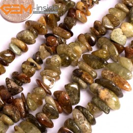 "G15918 8-10mm Freefrom Chips Natural Mixed Color Prehnite Spacer Beads 15 "" Natural Stone Beads for Jewelry Making Wholesale"