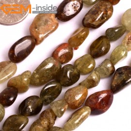 """G15919 10-12mm Freefrom Potato Natural Mixed Color Prehnite Beads 15 """" Natural Stone Beads for Jewelry Making Wholesale"""