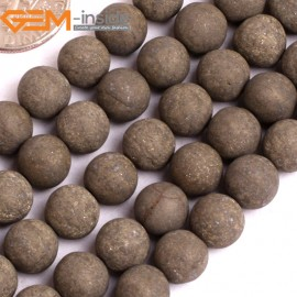 "G15926 8mm Round Frost Matte Natural Pyrite Stone Beads 15"" Natural Stone Beads for Jewelry Making Wholesale"