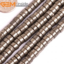 "G15930 3x6mm Drum Natural Silver Pyrite Stone Spacer Beads 15"" Natural Stone Beads for Jewelry Making Wholesale"